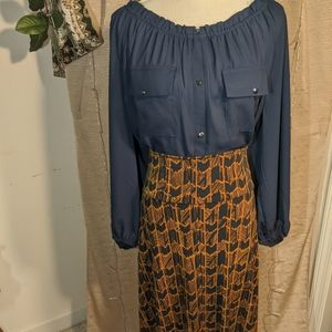 Lularoe skirt & navy Cato top
